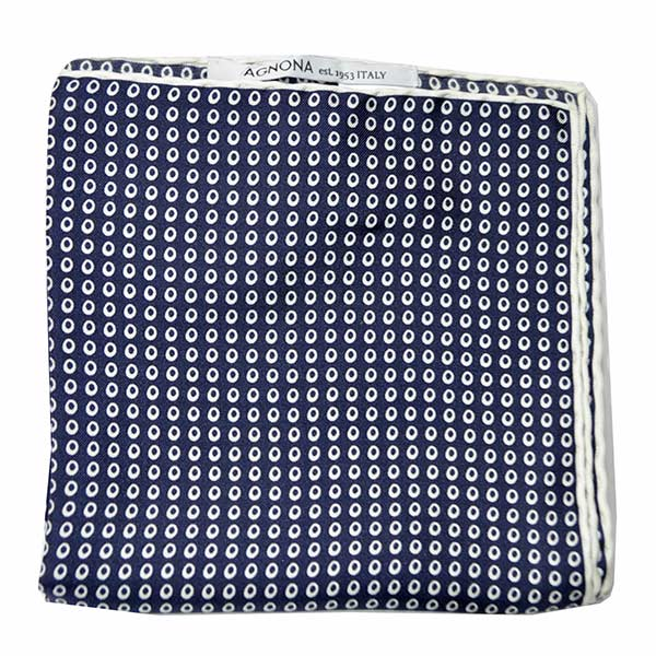 Agnona Silk Scarf Navy White Mini Circles Design - Twill Silk Square Scarf FINAL SALE
