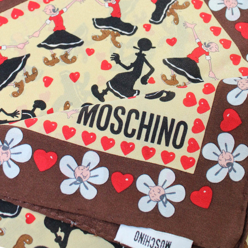 Moschino Scarf Brown Red Olive Oyl Everywhere - Small Square Scarf SALE