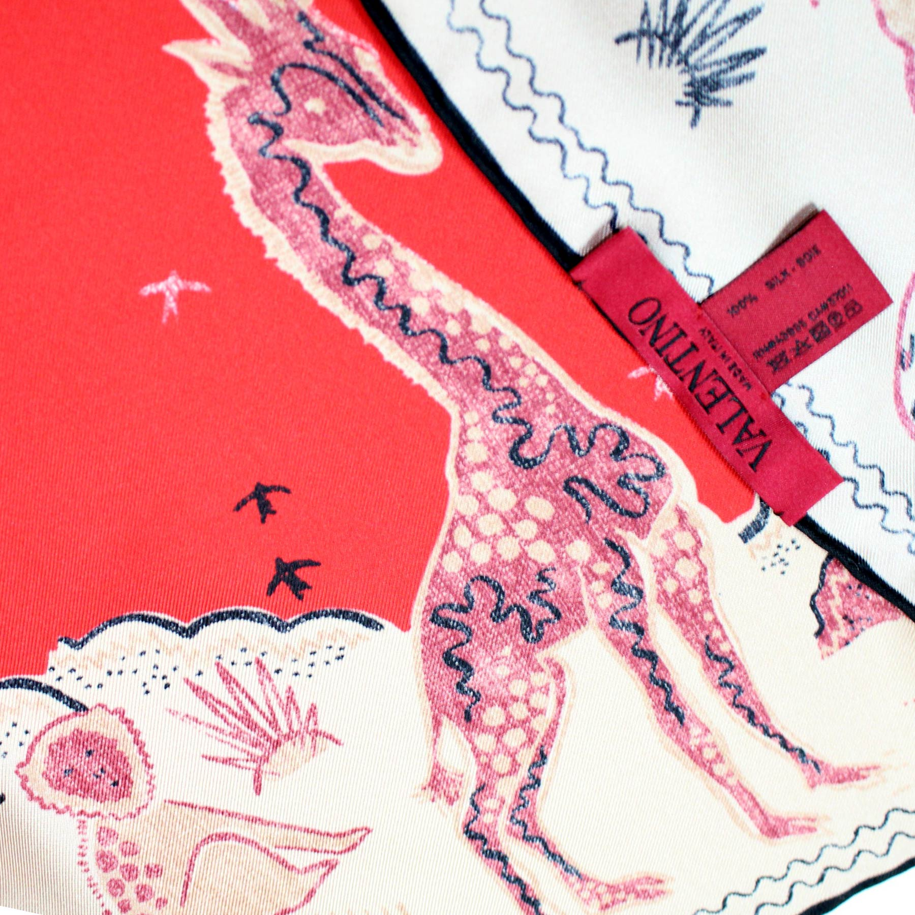 Valentino Scarf Pink Red Animal Drawings - Large Twill Silk Square Scarf BLACK FRIDAY SALE