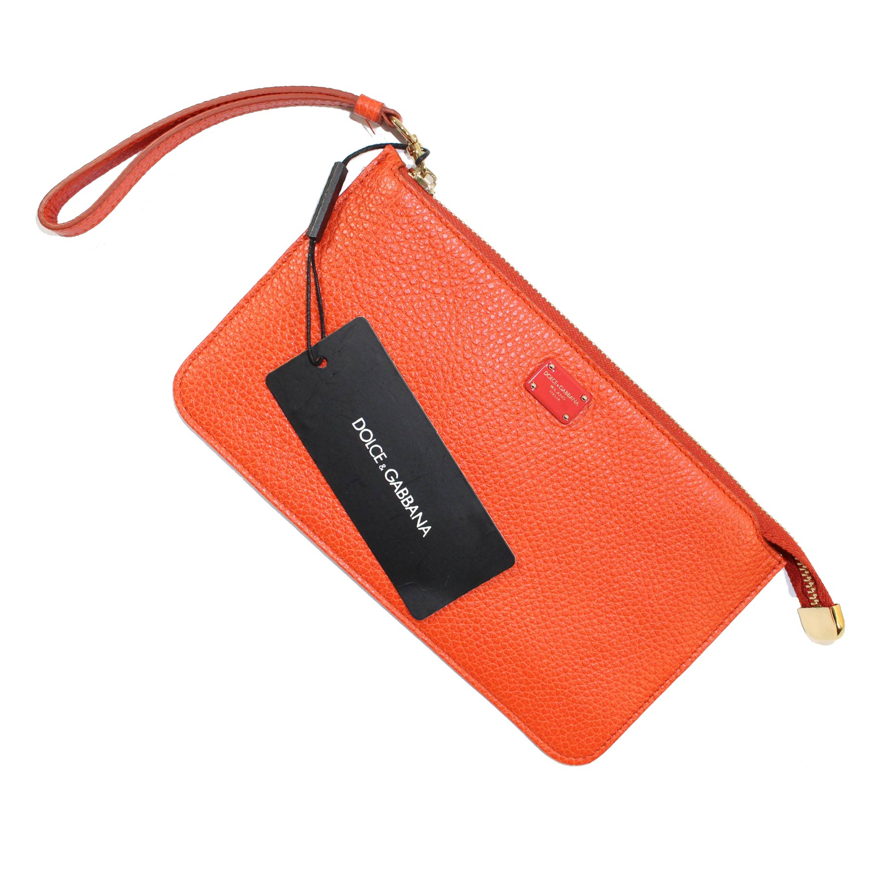 Dolce & Gabbana Clutch Orange Leather Wallet