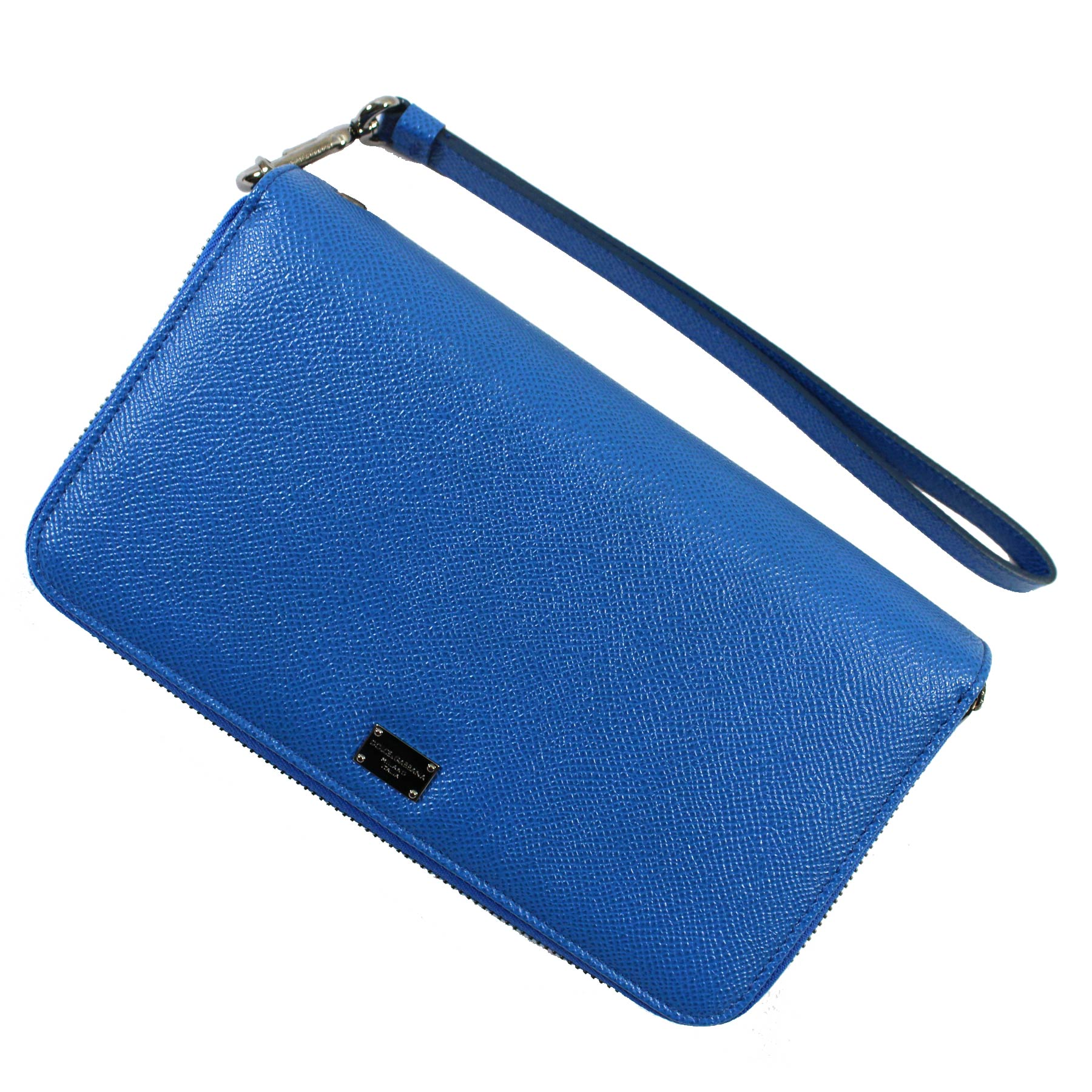 Dolce & Gabbana Double Zip Blue Leather Wallet