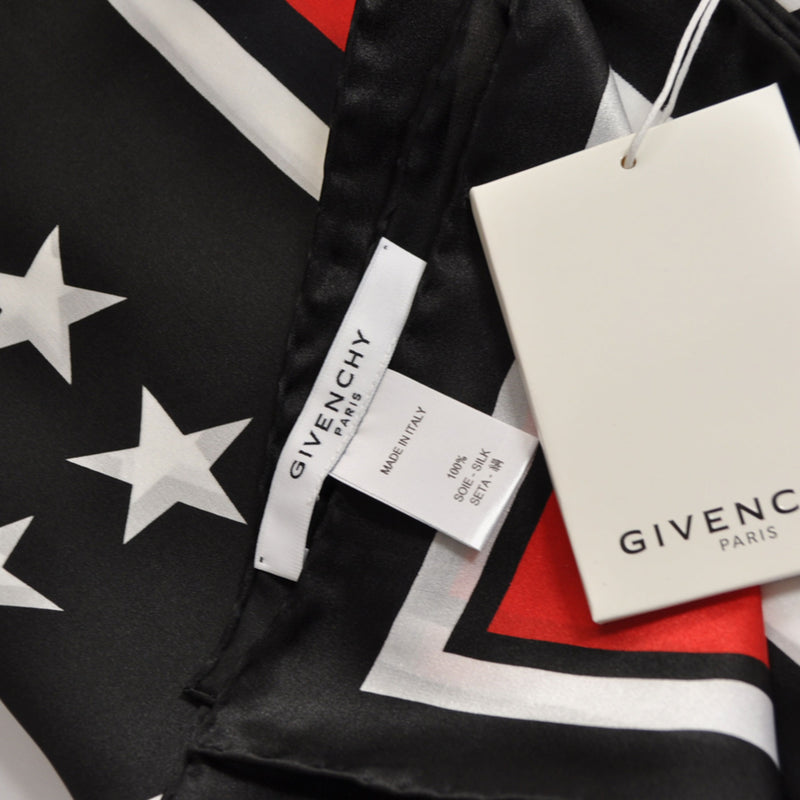 Givenchy Scarf Black Red White 17 Stars & Stripes - Extra Large Square Silk Scarf FINAL SALE