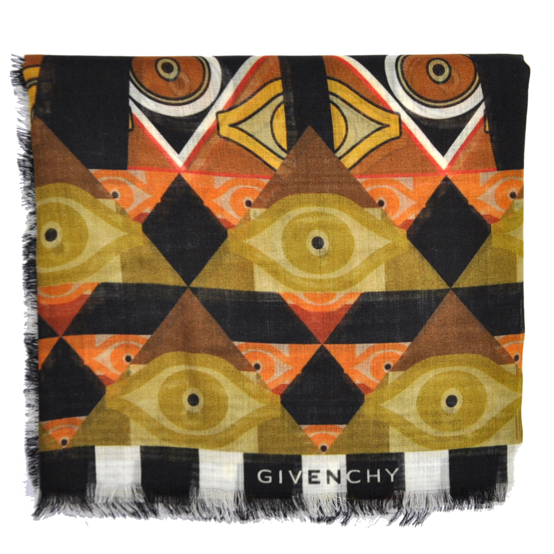 Givenchy Scarf Olive Mustard Brown Black Wool Shawl