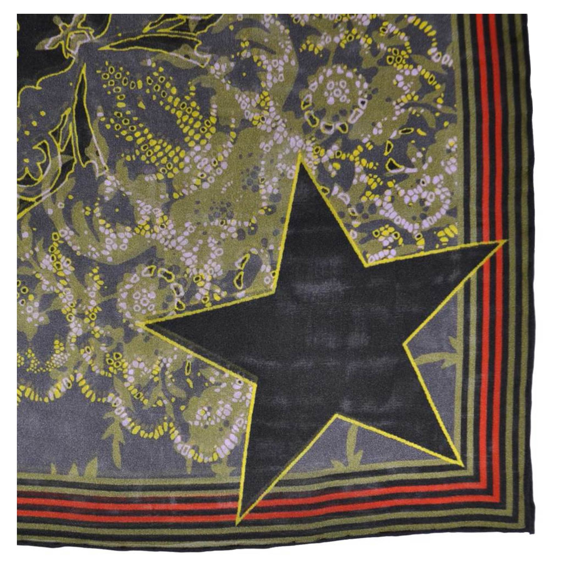 Givenchy Scarf Black Green Design- Chiffon Silk Scarf - FINAL SALE