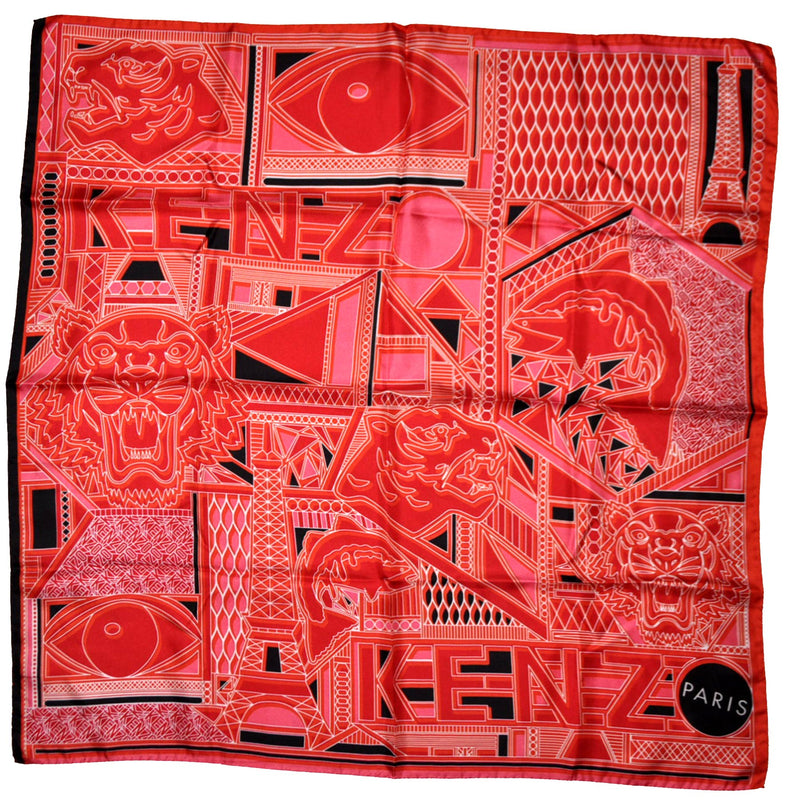 New Kenzo Scarf Pink Tiger Face Logo