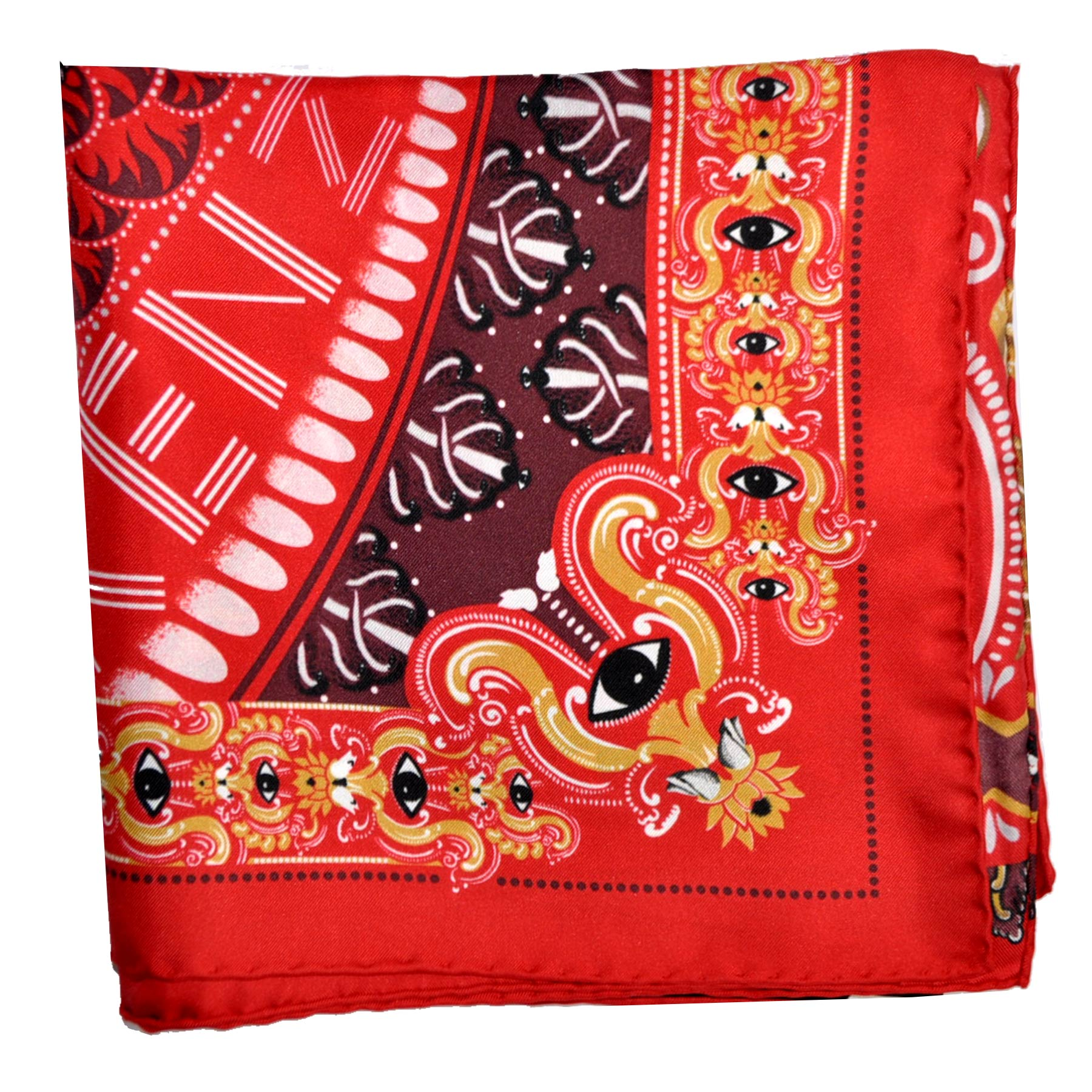 Kenzo Silk Scarf Red Signature Design