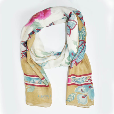 New Camel Floral Cashmere Silk Shawl