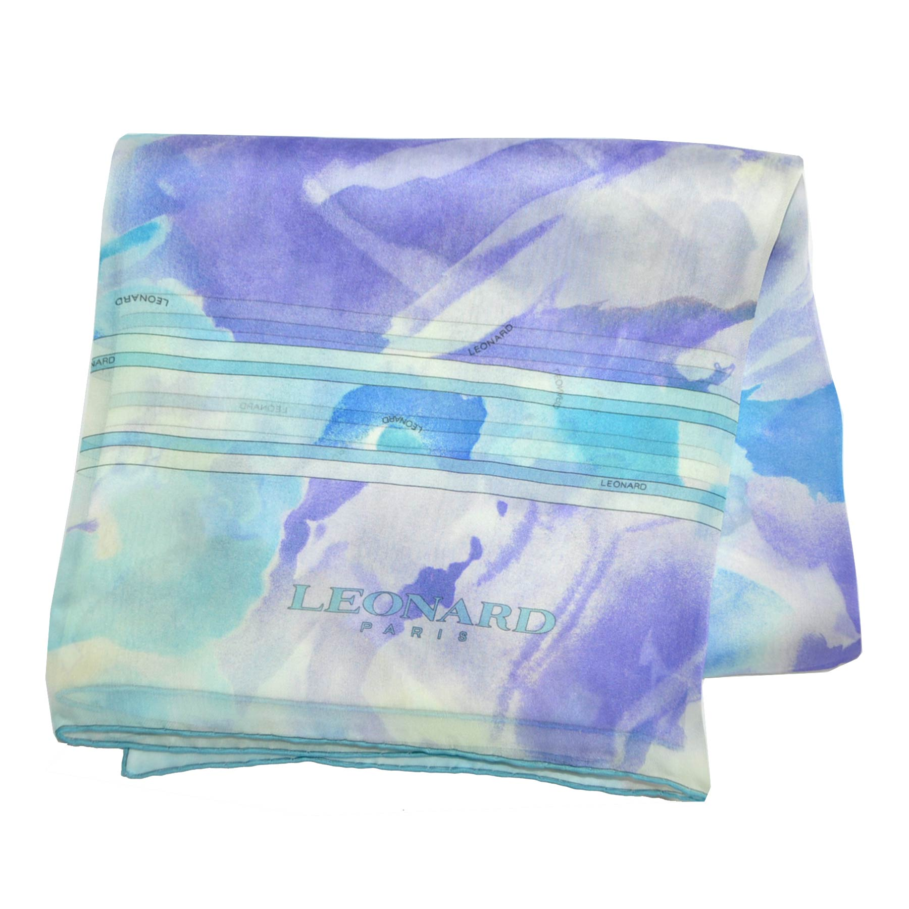 Leonard Paris Scarf Lilac Gray Aqua Watercolors Chiffon Silk Shawl