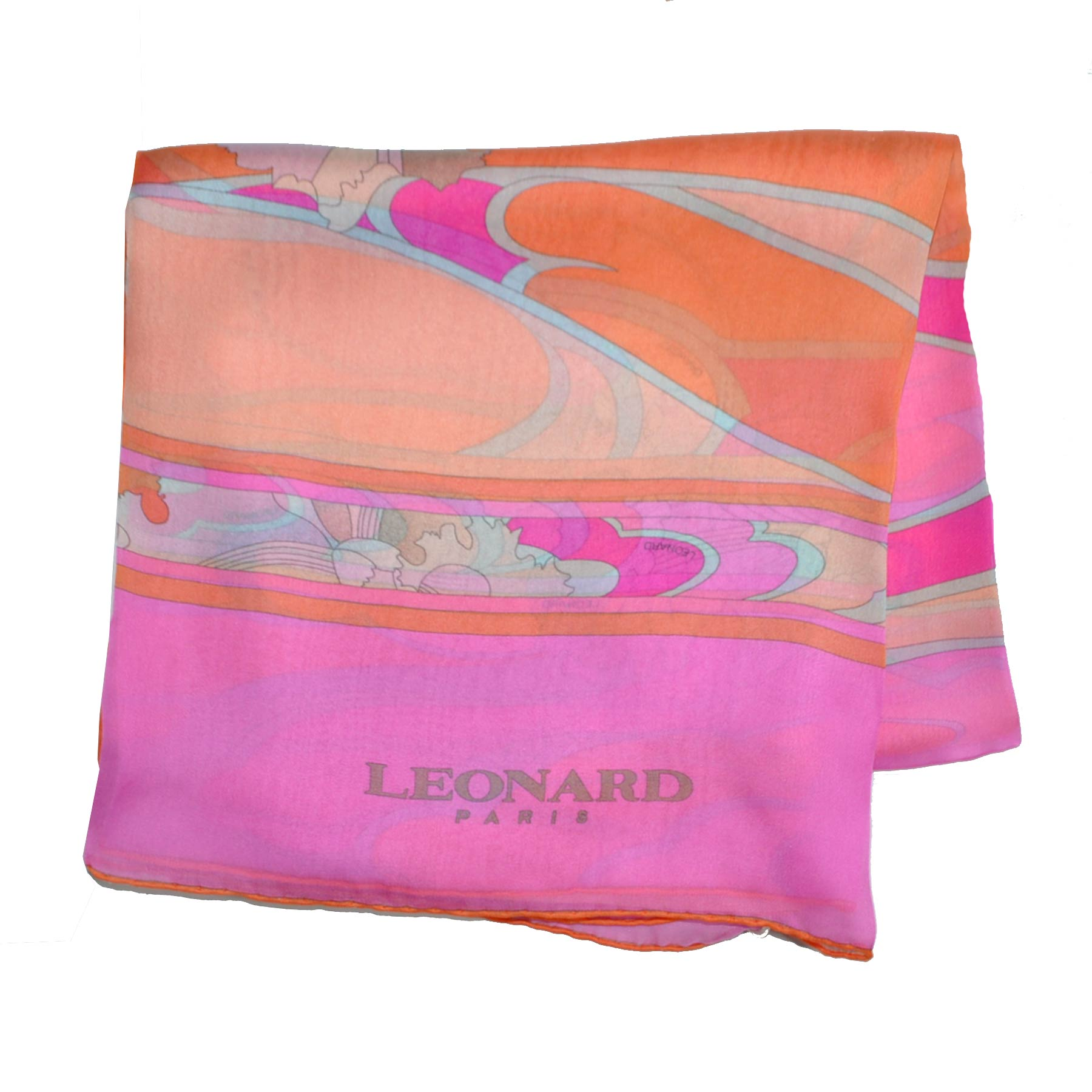 Leonard Paris Scarf Pink Orange Floral