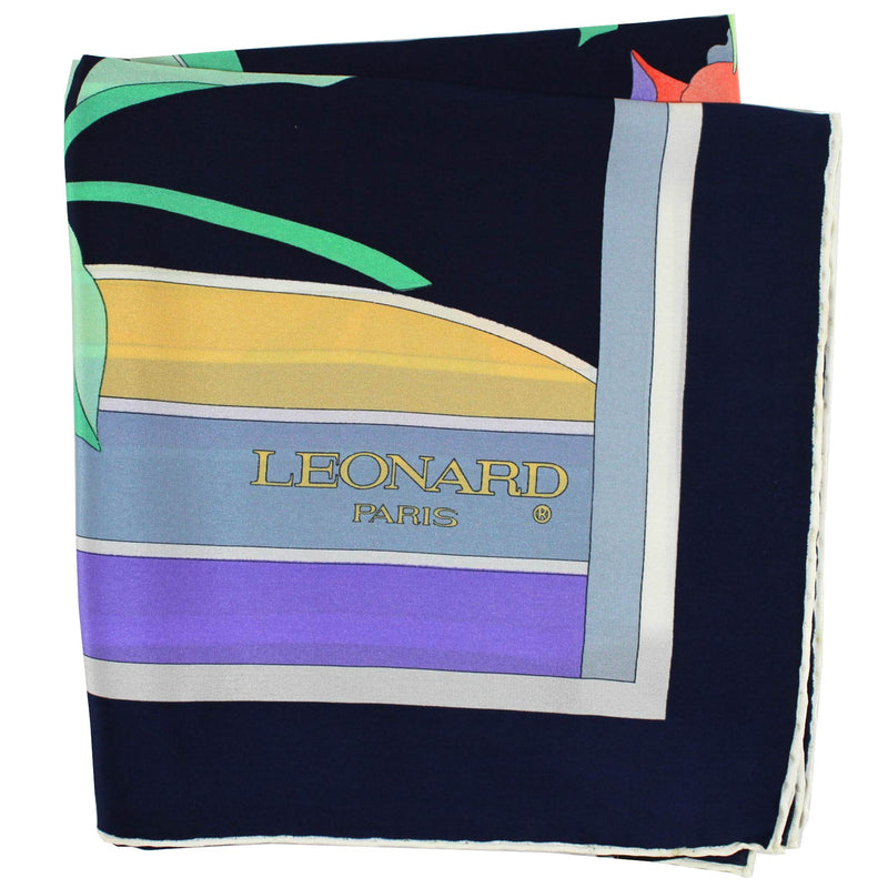 Leonard Paris Scarf Black Lilac Orange Floral