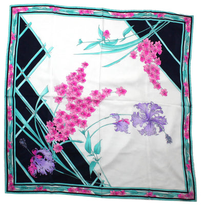 New Leonard Paris Scarf Turquoise Pink Floral - Large Square Silk Scarf