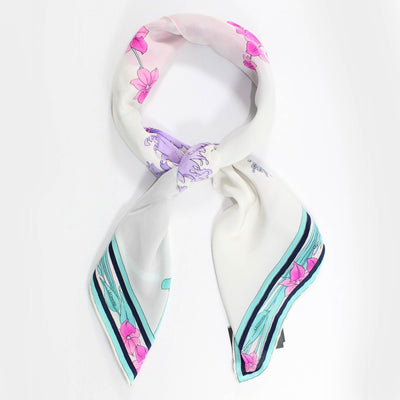 Leonard Paris Scarf Turquoise Pink Floral - Large Square Silk Scarf SALE