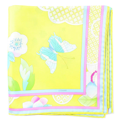 Leonard Paris Scarf Yellow Butterfly Floral - Twill Silk Large Square Scarf