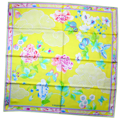 Leonard Paris Scarf Yellow Butterfly & Floral - Twill Silk Large Square Scarf