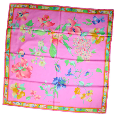 Leonard Paris Scarf Pink Blue Floral - Large Square Twill Silk Scarf