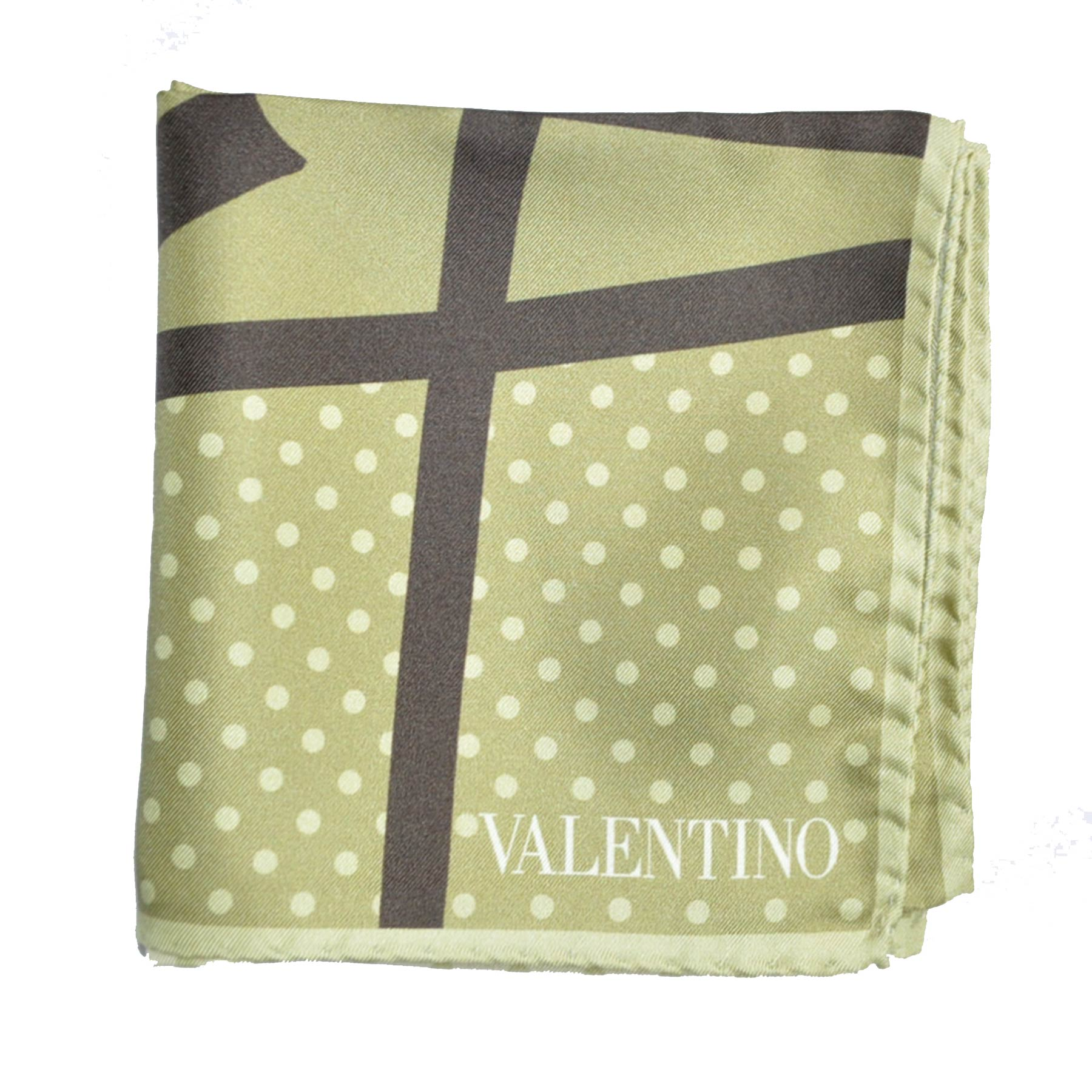 Valentino Scarf Sage Green Polka Dots & Bow - Silk Small Square FINAL SALE