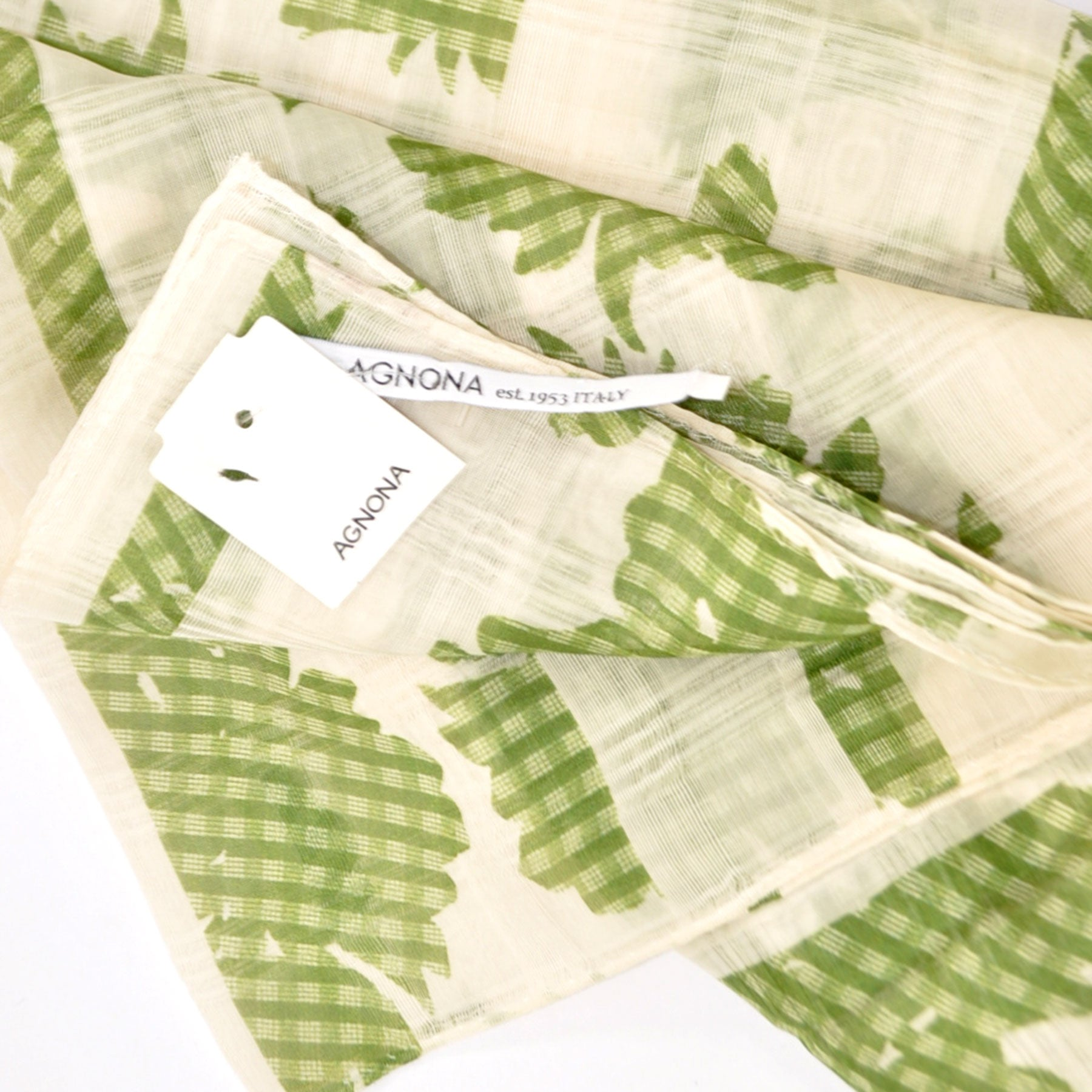 Agnona Scarf White Green Floral Cotton Silk - FINAL SALE