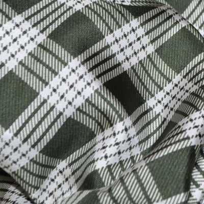 Agnona Scarf Green White Plaid Large Square Twill Silk Scarf - FINAL SALE