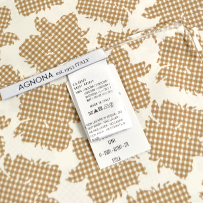 Agnona Scarf White Cream Check Floral