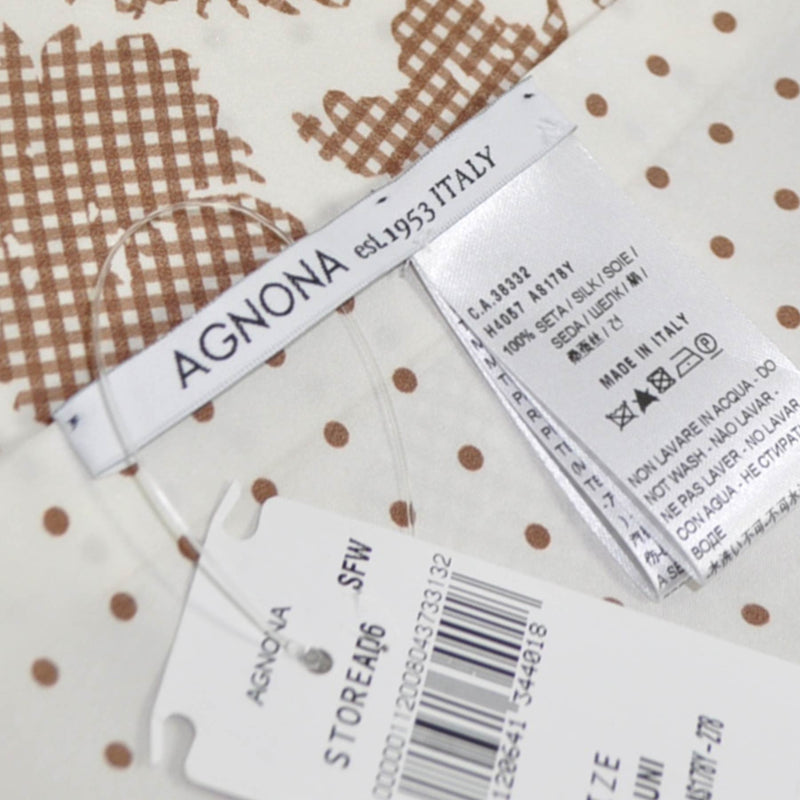 Agnona Scarf White Brown Floral Silk Shawl