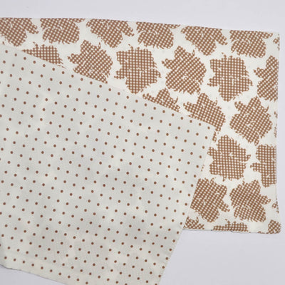 Agnona Scarf White Brown Floral & Dots - Silk Shawl REDUCED - FINAL SALE