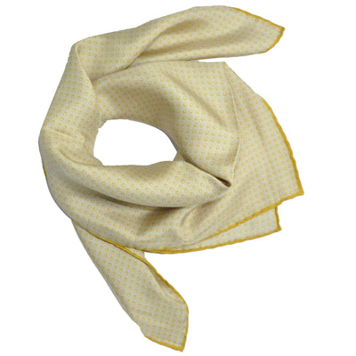 Agnona Scarf Gray Olive Mini Circles - Twill Silk Square Scarf  - FINAL SALE