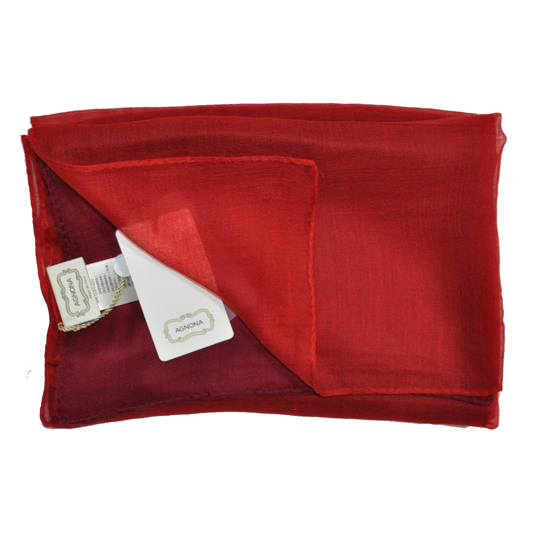 Agnona Cashmere Scarf Maroon Rust Orange Solid Shawl