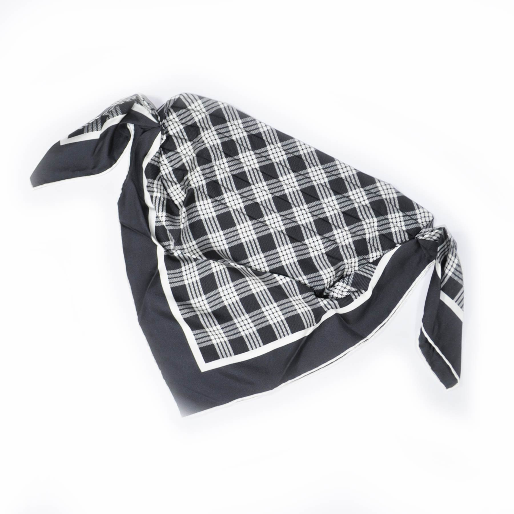 Agnona Scarf Metal Gray White Plaid Twill Silk Scarf SALE