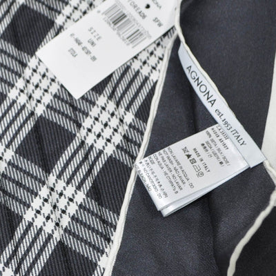 Agnona Scarf Metal Gray White Plaid Twill Silk Scarf FINAL SALE