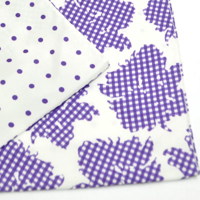 Agnona Silk Scarf White Purple Floral Check & Dots Reversible Shawl REDUCED - FINAL SALE