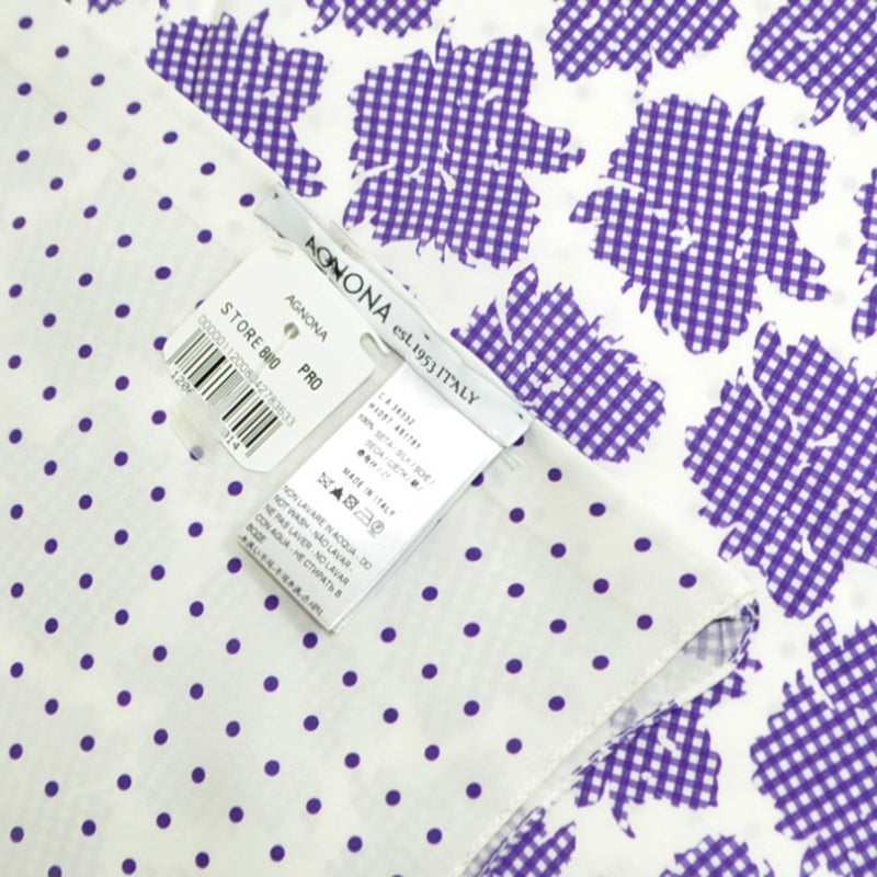 Agnona Scarf White Purple Floral Check & Dots Reversible Silk Shawl SALE