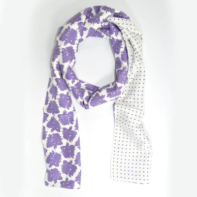 Agnona Scarf White Purple Floral Check & Dots