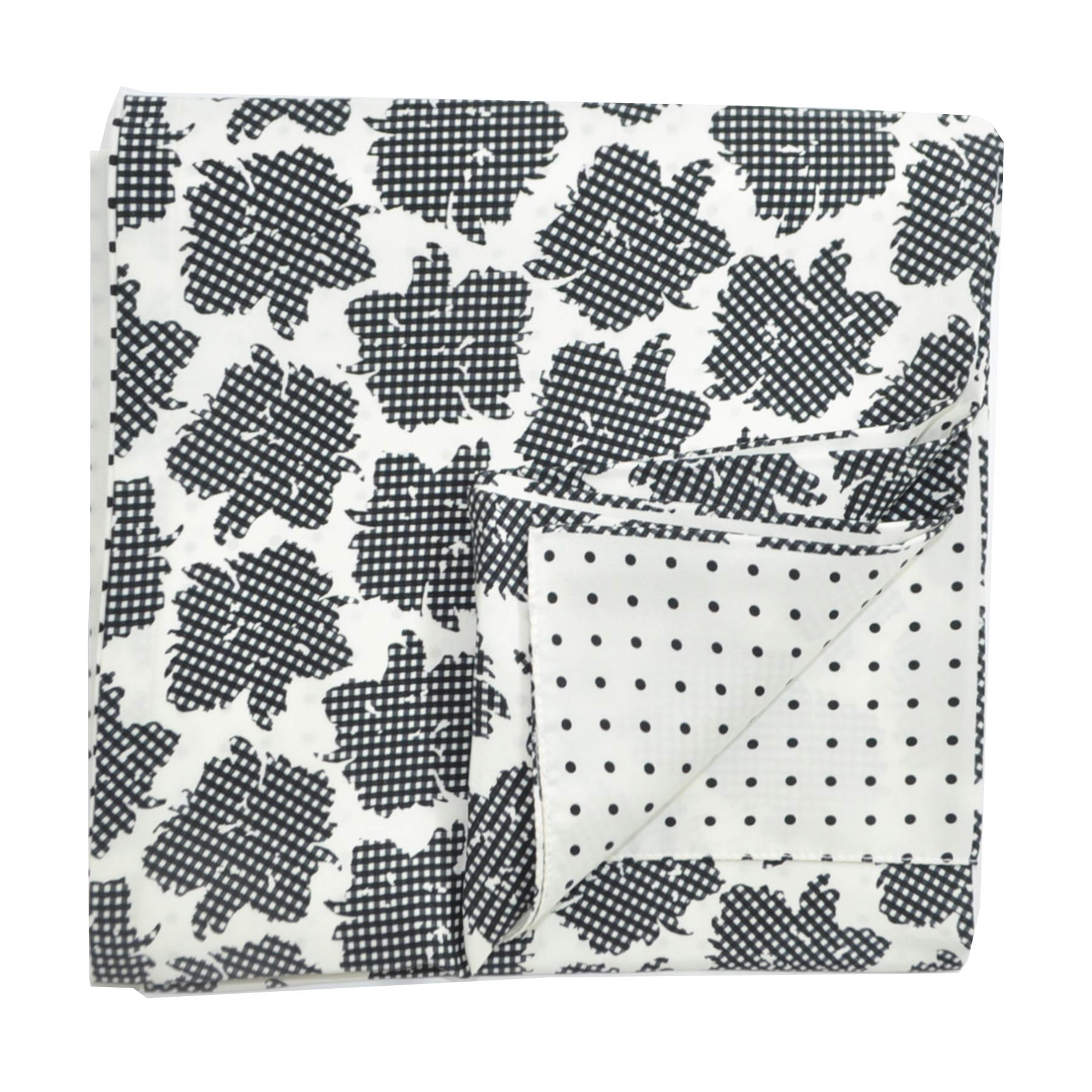 Agnona Scarf White Black Floral Check