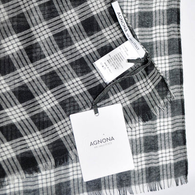Agnona Scarf Black White Plaid Check Cashmere Silk Shawl