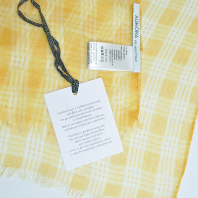 Agnona Scarf Orange White Plaid Check Cashmere Shawl FINAL SALE