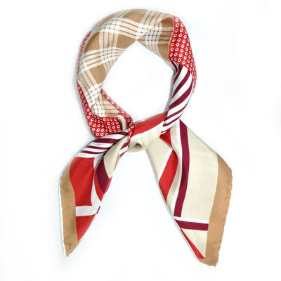 Agnona Scarf Maroon Burgundy Cream White Patchwork Twill Silk Square Scarf REDUCED - FINAL SALE