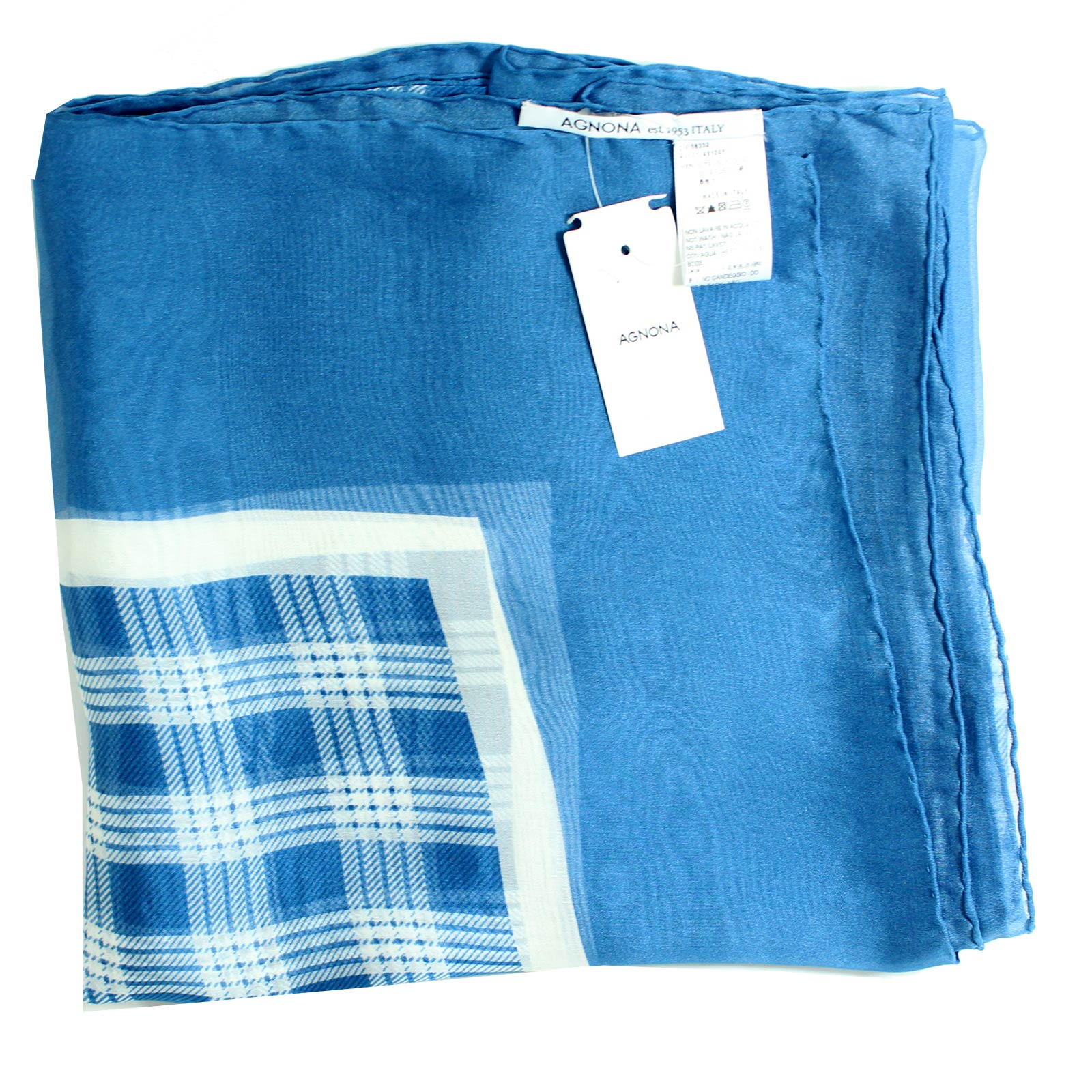 Agnona Scarf Blue White Plaid Check - Chiffon Silk Extra Large Square Scarf FINAL SALE