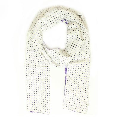 Agnona Scarf White Purple Floral & Polka Dots Reversible Silk Shawl FINAL SALE