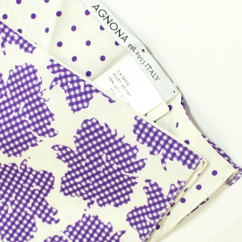 Agnona Scarf White Purple Floral