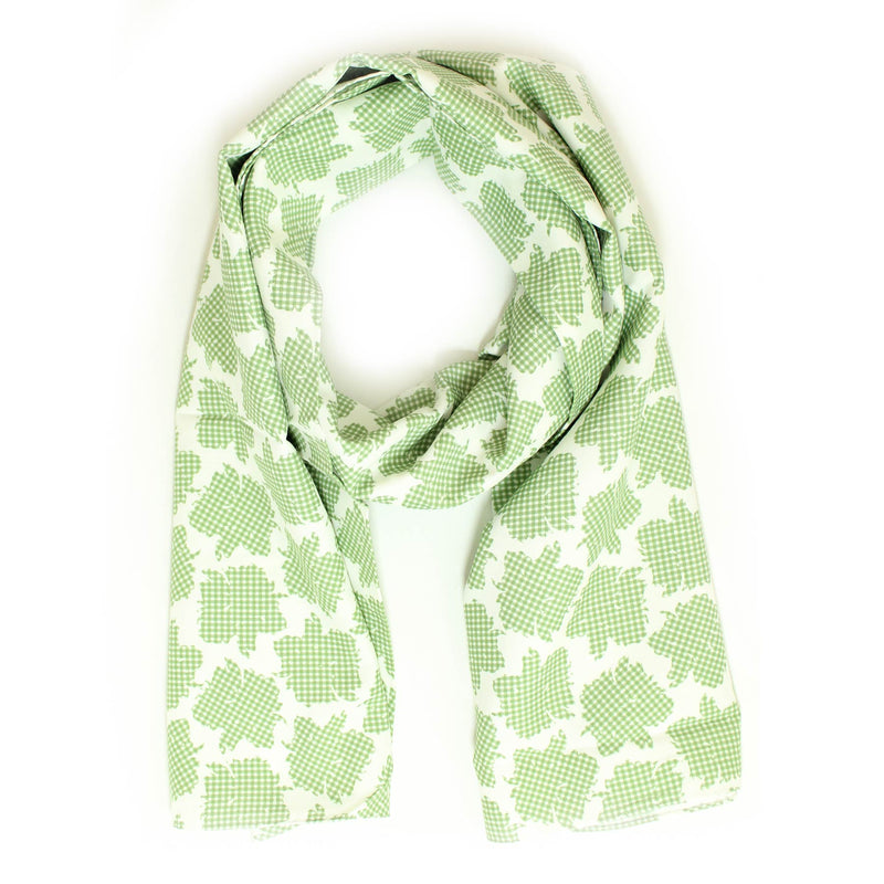 Agnona Scarf White Green Floral Short Shawl - FINAL SALE
