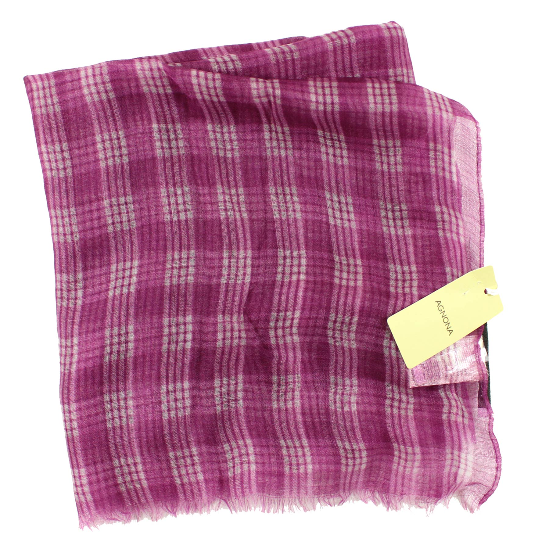 Agnona Scarf Purple White Plaid Check New