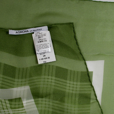 Agnona Scarf Green White Plaid Check - Chiffon Silk Extra Large Square Scarf FINAL SALE