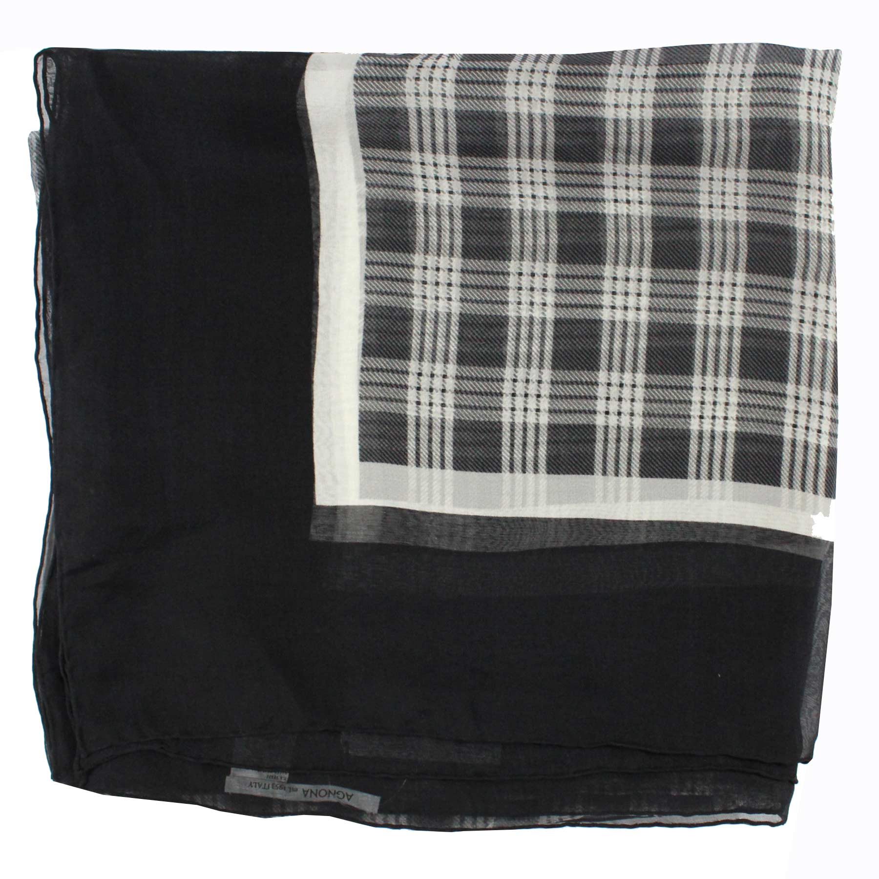 Agnona Scarf Black White Plaid Check Chiffon