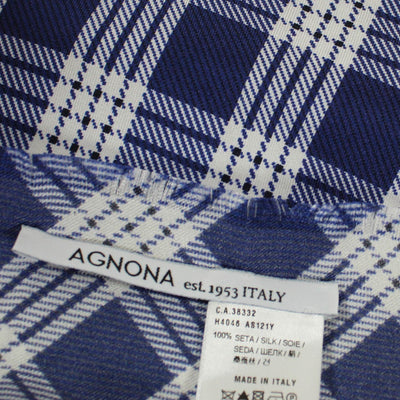 Agnona Scarf Navy White Plaid - Medium Square Twill Silk Scarf SALE