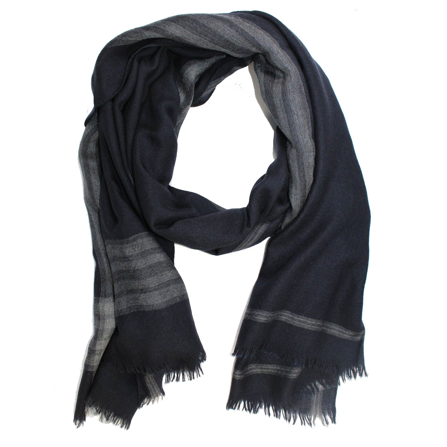 Agnona Cashmere Silk Scarf Gray Black Stripe Shawl