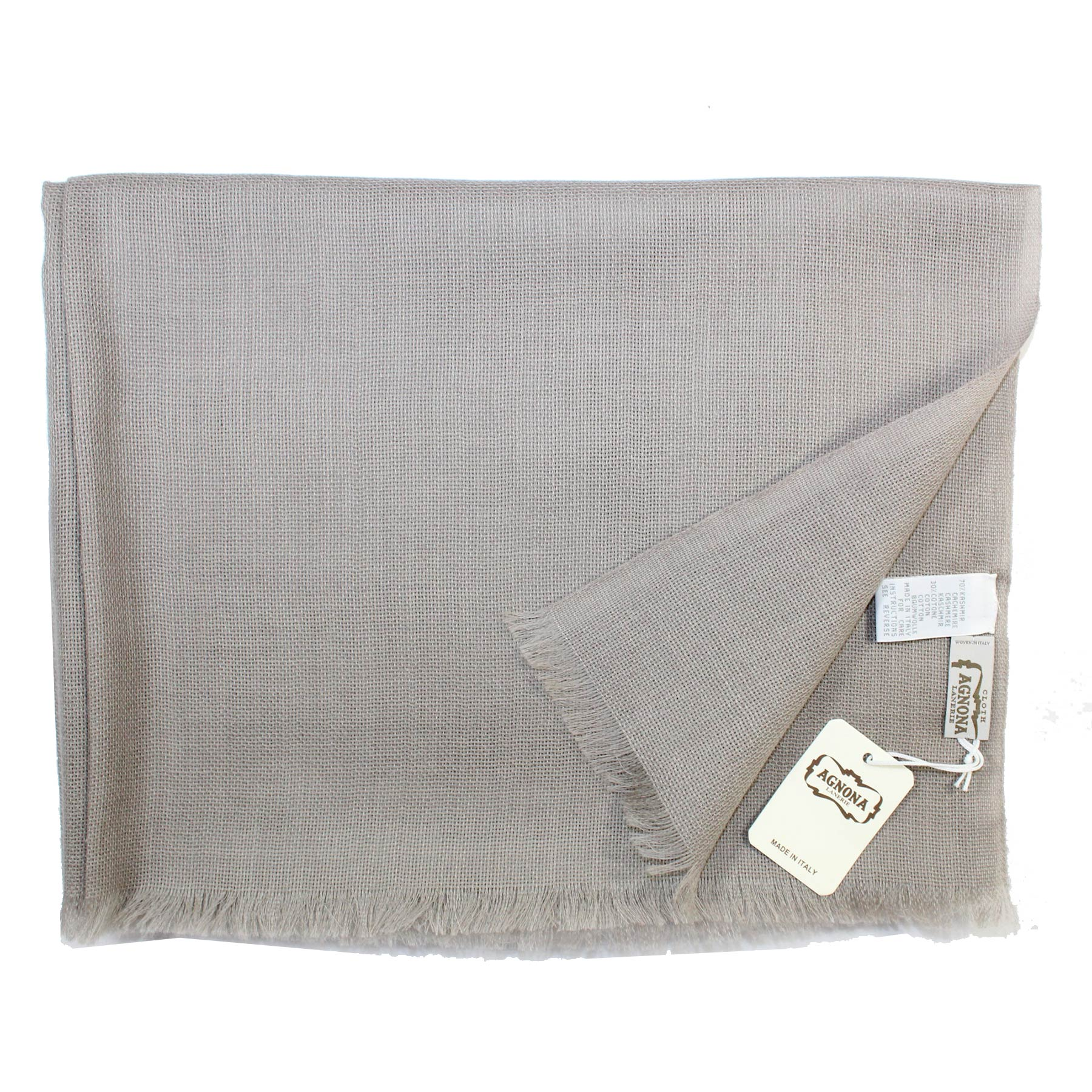 Agnona Scarf Taupe Gray Design - Cashmere Cotton Shawl SALE