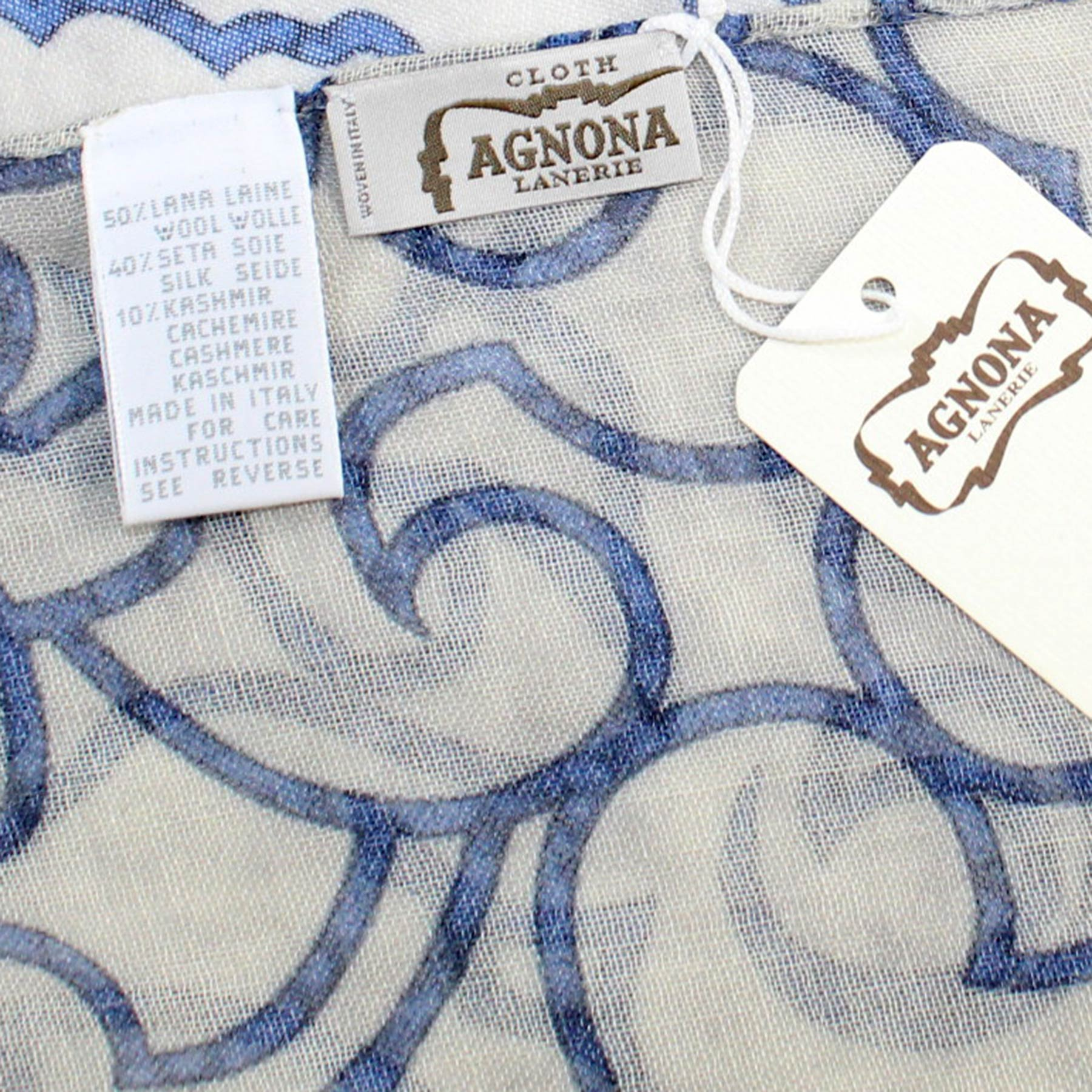 Agnona Scarf Gray Blue Design -