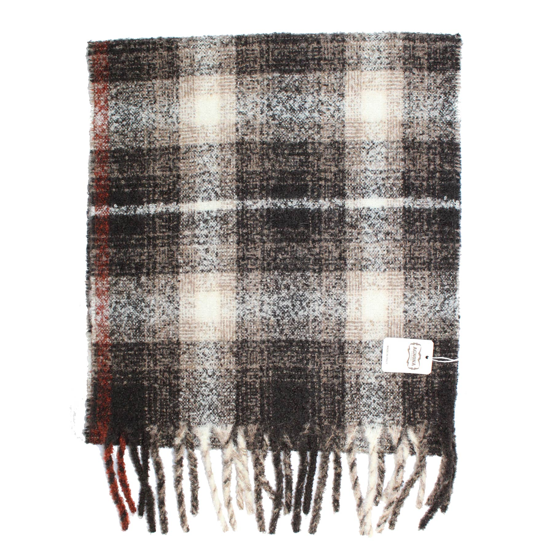 Agnona Scarf Taupe Black White Check Plaid - Cashmere Alpaca Shawl SALE