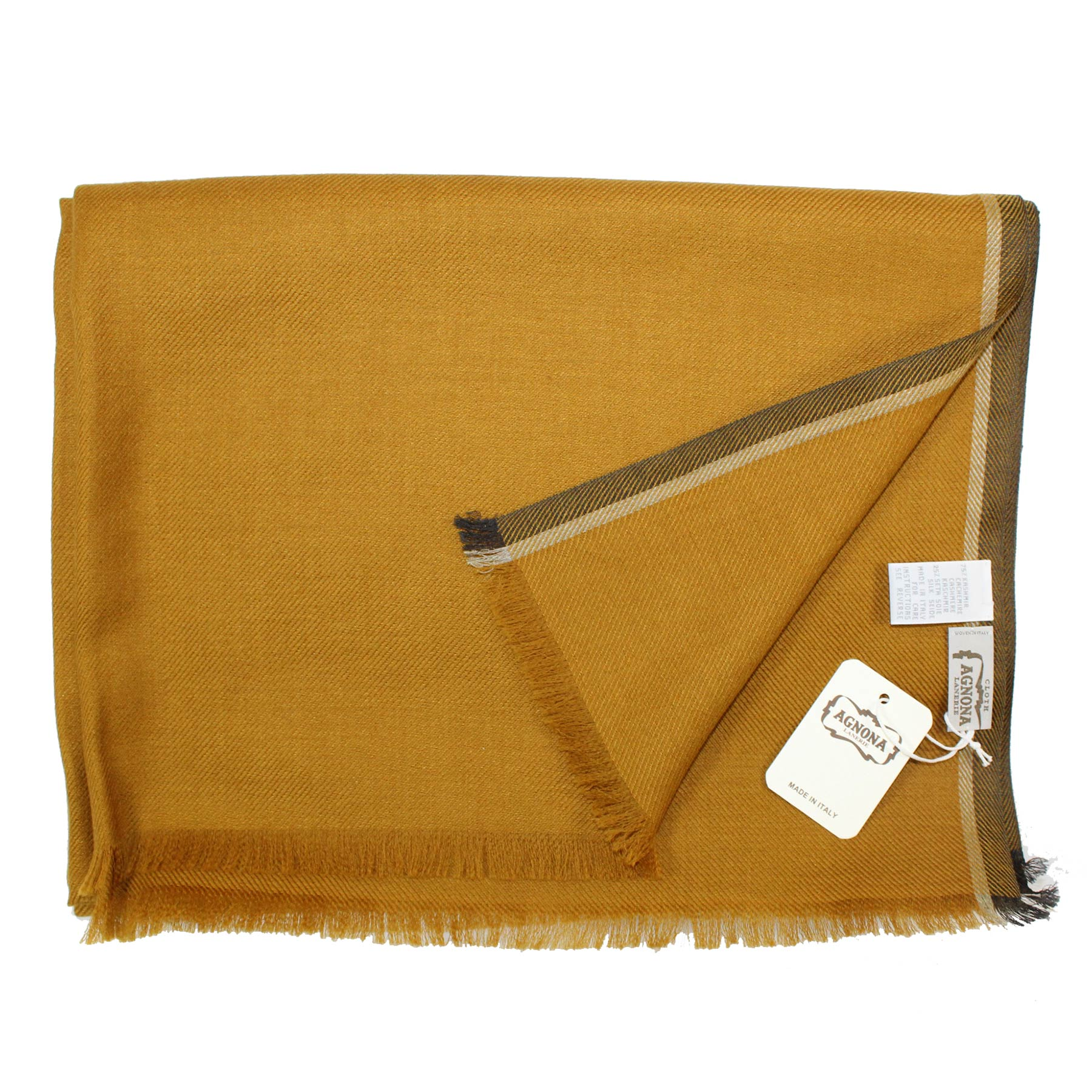 Agnona Scarf Mustard - Luxury Cashmere Silk Shawl FINAL SALE