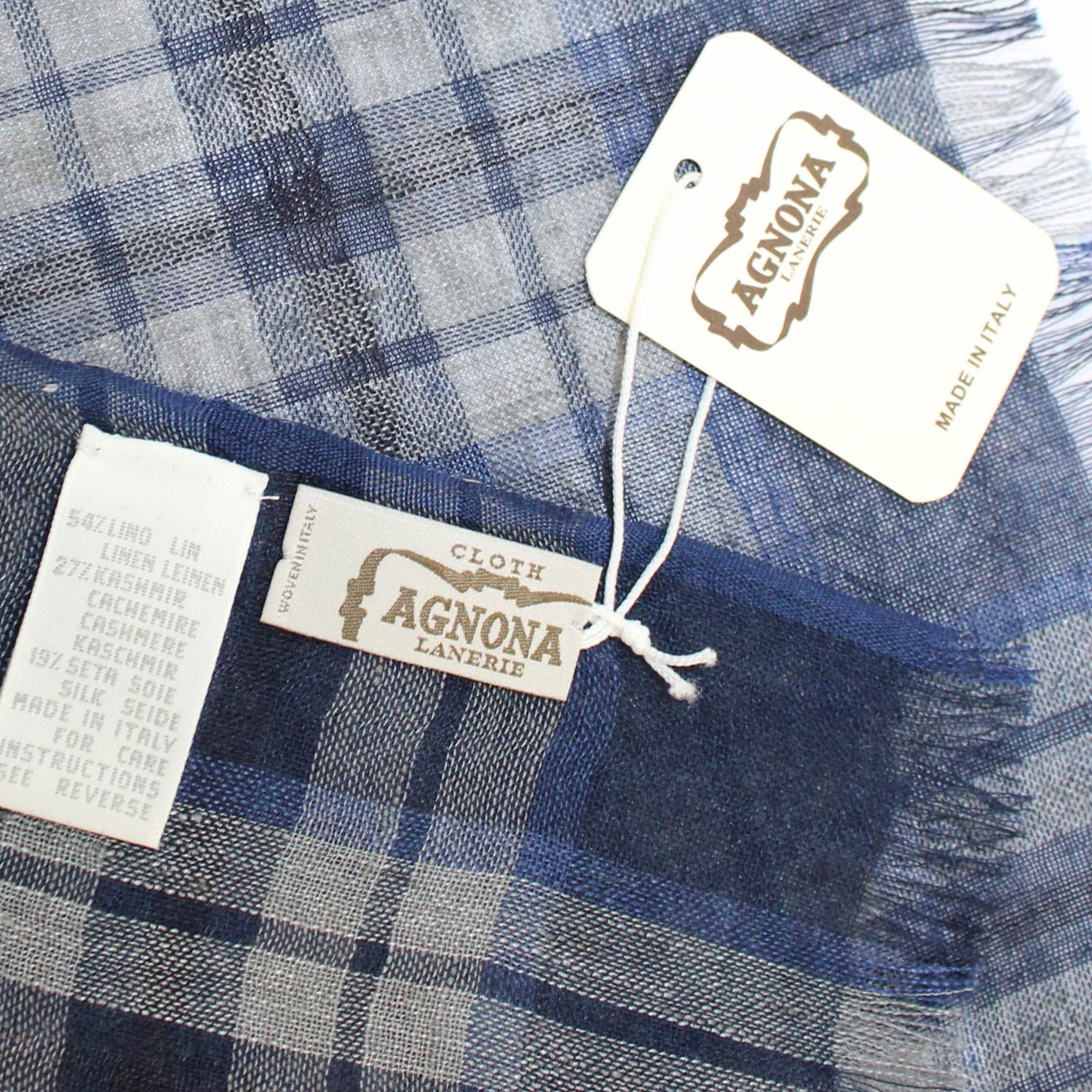Agnona Scarf Royal Blue Plaid